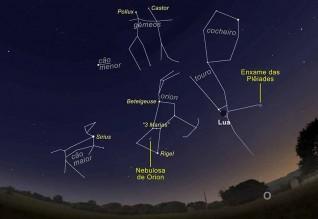 O céu virado a Sudoeste, às 21h00 do dia 10 de abril. Em destaque estão o enxame de estrelas das Plêiades e a Nebulosa de Orion (Imagem: Ricardo Cardoso Reis/Stellarium).