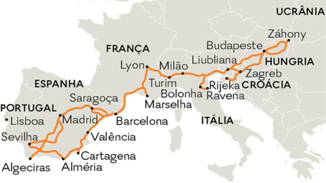 Em 2010 a Comissão Europeia aprova a rede de corredores multimodais. A rede básica europeia de nove corredores multimodais inclui o Corredor Ferroviário Mediterrânico que liga a Andaluzia, aqui mesmo ao lado, à Ucrânia.
