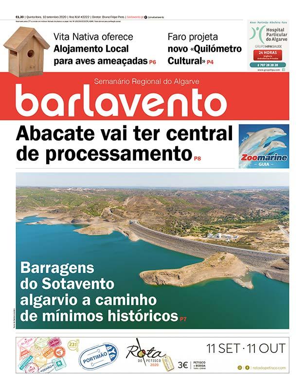Edição 2222 do jornal barlavento, semanário regional do Algarve, que destaca uma entrevista com Pedro Valadas Monteiro, diretor da DRAPAlg.