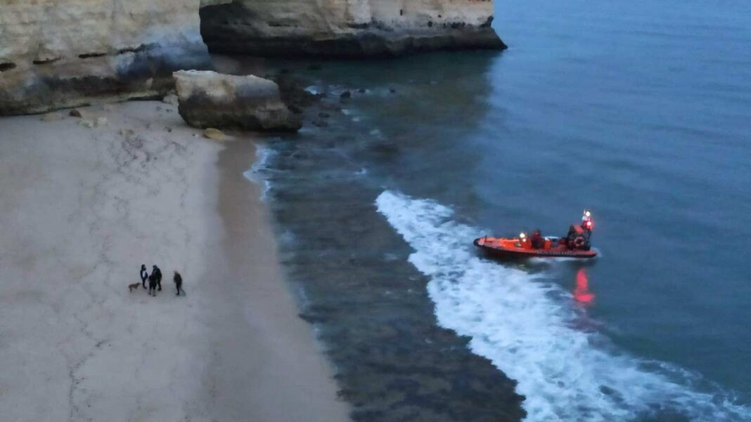 Autoridade Marítima Nacional auxiliou uma cadela que sofreu uma queda numa arriba na Praia da Marinha, no concelho de Lagoa.