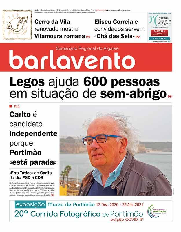 Edição nº 2250 de 8 de abril de 2021 do jornal barlavento, semanário regional do Algarve com a reportagem sobre o candidato Luís Carito.
