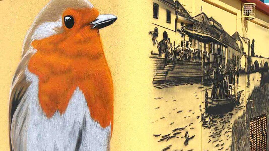Artista plástico Hélder José (Bamby) está a fazer intervenções na cidade de Silves onde arranca o evento Geopalcos Arte.Ciência.Natureza no sábado, dia 29 de maio.