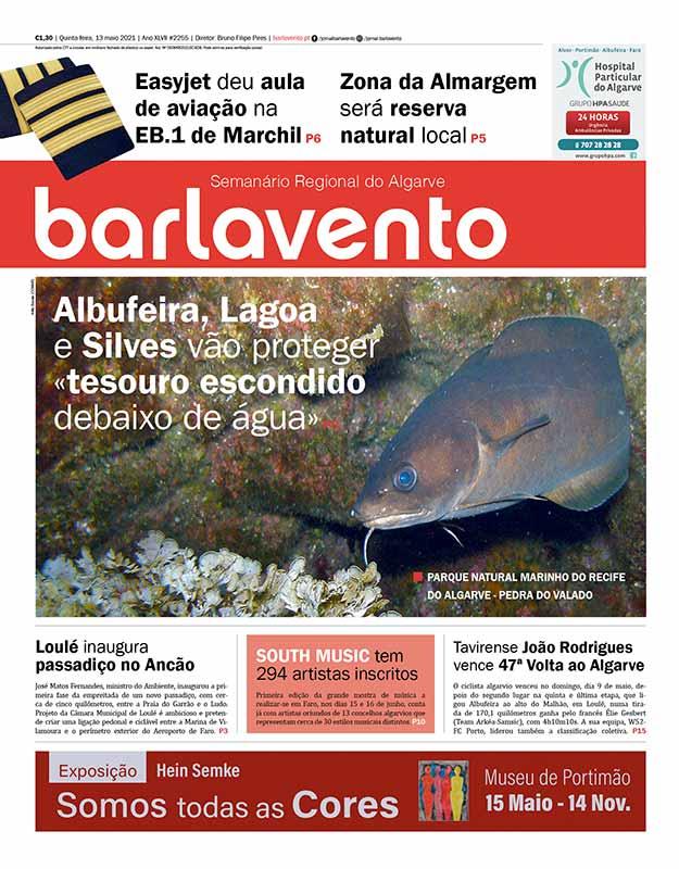 Edição nº 2255 de 13 de março de 2021 do jornal barlavento, semanário regional do Algarve sobre o Parque Natural Marinho do Recife do Algarve.