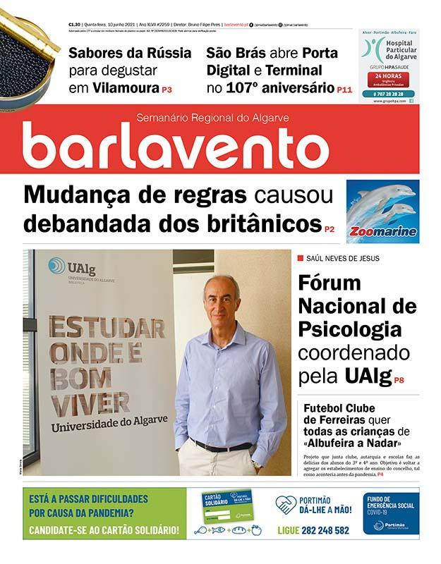 Edição nº 2259 de 10 de junho de 2021 do jornal barlavento, semanário regional do Algarve sobre o Fórum Nacional de Psicologia.