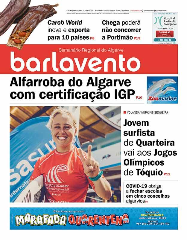 Edição nº 2262 de 1 de julho de 2021 do jornal barlavento, semanário regional do Algarve com a reportagem sobre a surfista Yolanda Hopkins Sequeira.