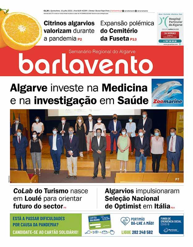 Edição nº 2264 de 15 de julho de 2021 do jornal barlavento, semanário regional do Algarve com a reportagem sobre o no ensino de Medicina.