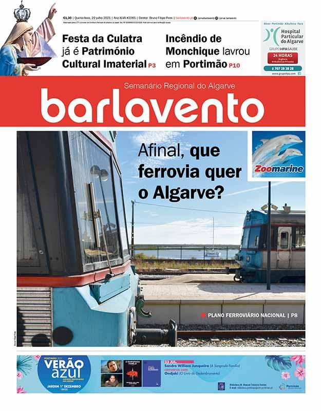 Edição nº 2265 de 22 de julho de 2021 do jornal barlavento, semanário regional do Algarve com a reportagem sobre o futuro da ferrovia.
