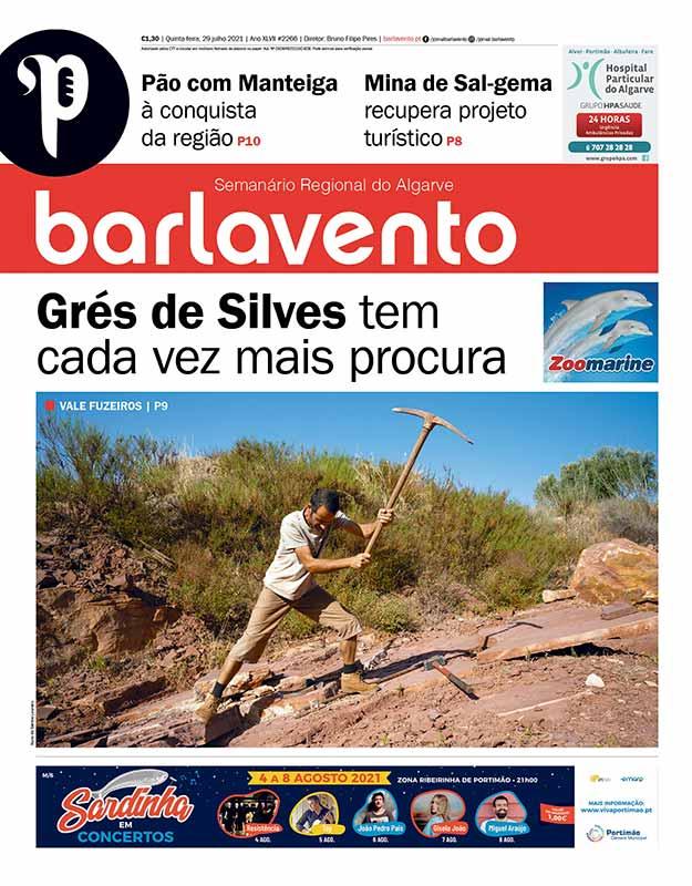 Edição nº 2266 de 29 de julho de 2021 do jornal barlavento, semanário regional do Algarve com a reportagem sobre o Grés de Silves.
