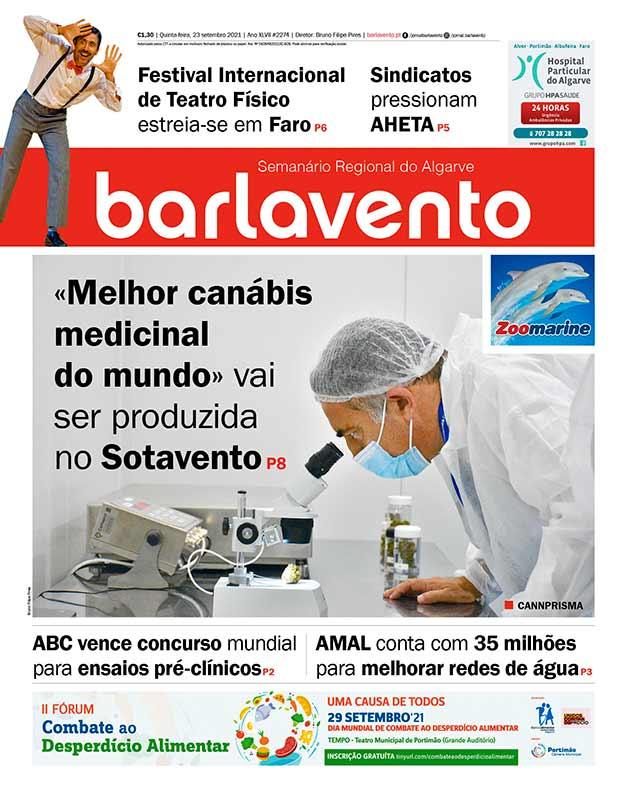 Edição nº 2274 de 22 de setembro de 2021 do jornal barlavento, semanário regional do Algarve sobre a canábis da CANNPRISMA.