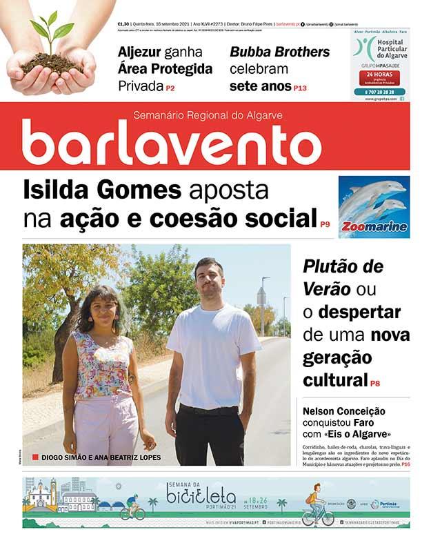 Edição nº 2273 de 16 de setembro de 2021 do jornal barlavento, semanário regional do Algarve sobre o coletivo Plutão de verão.